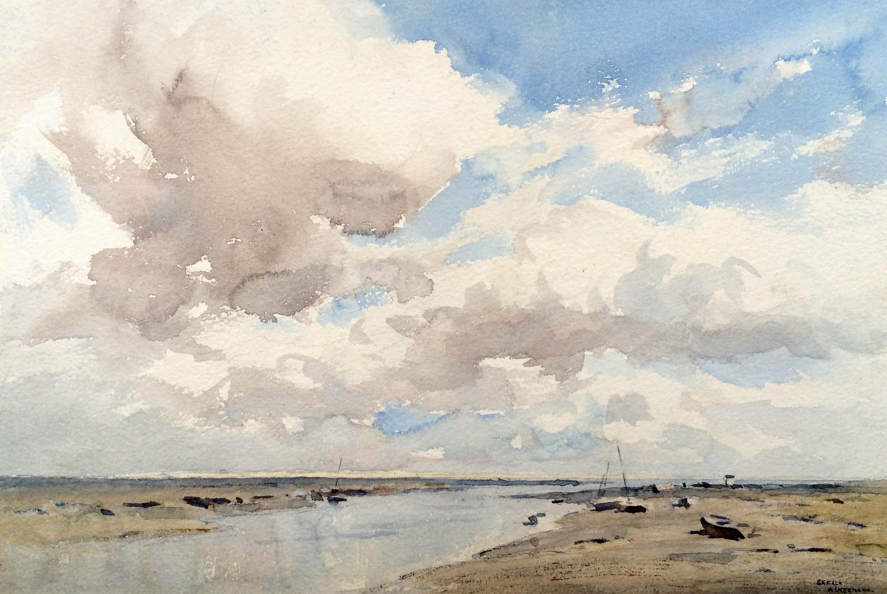 Gerald Ackermann 'Cloudy Weather Blakeney' Carnes Fine Art