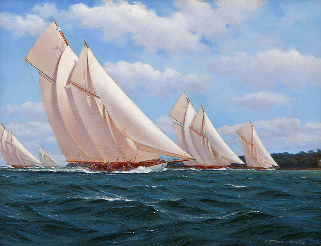 Stephen J Renard 'Westward Racing in the Solent' Carnes Fine Art