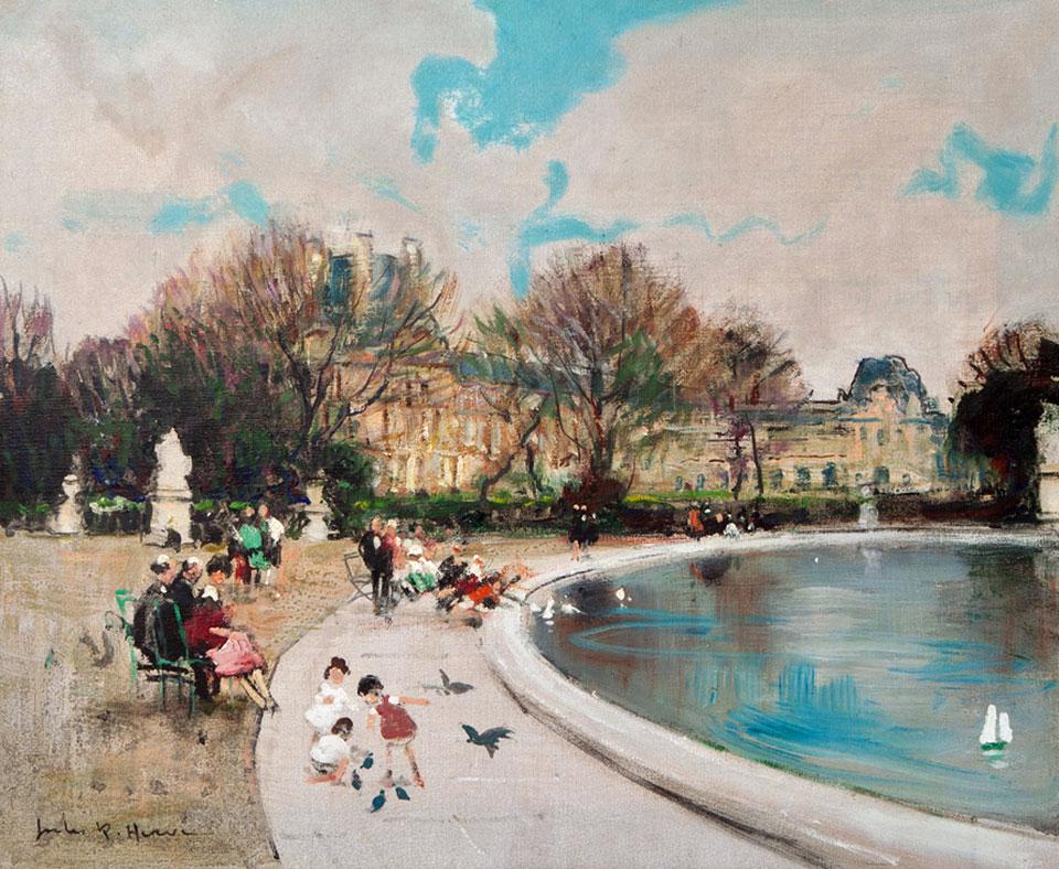Jules Rene Herve 'The Tuileries Garden in Paris' Carnes Fine Art