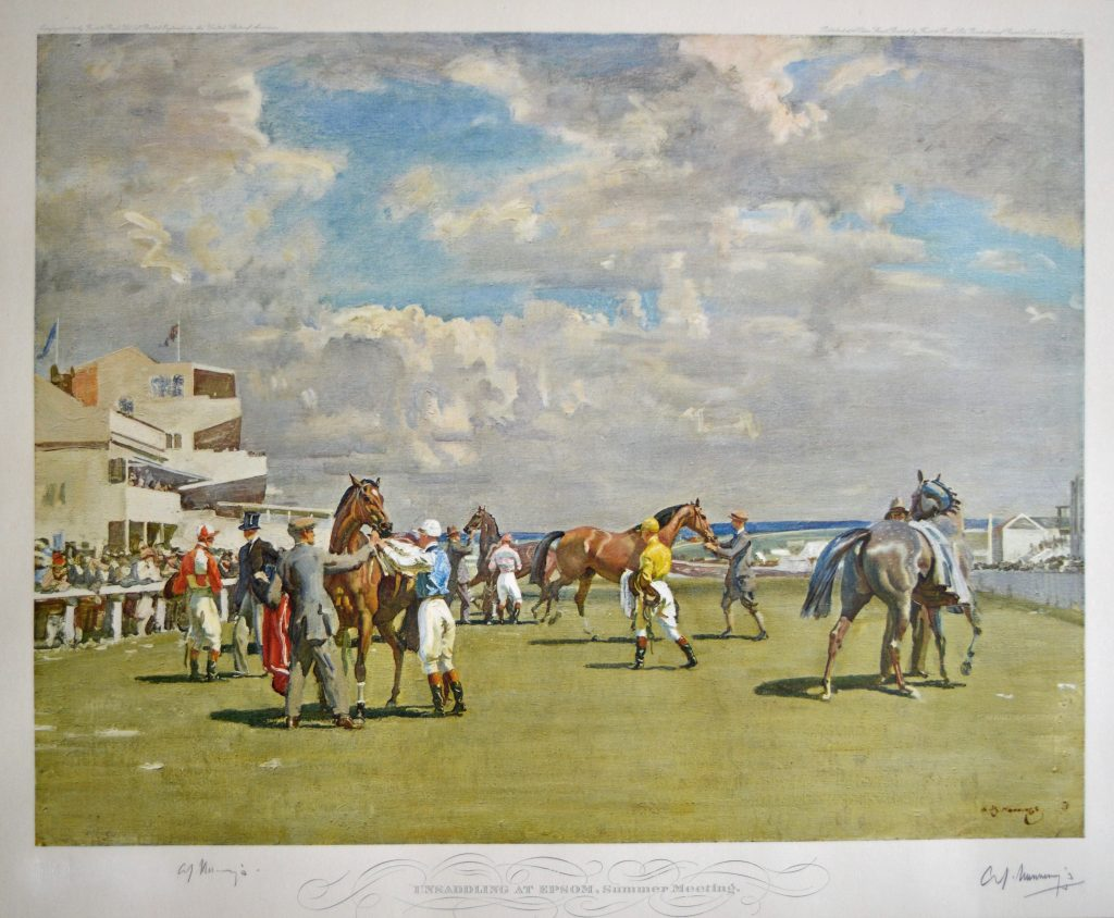 Signed Lithograph 'Unsaddling at Epsom'