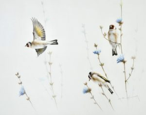 goldfinches painting - Carnes Fine Art