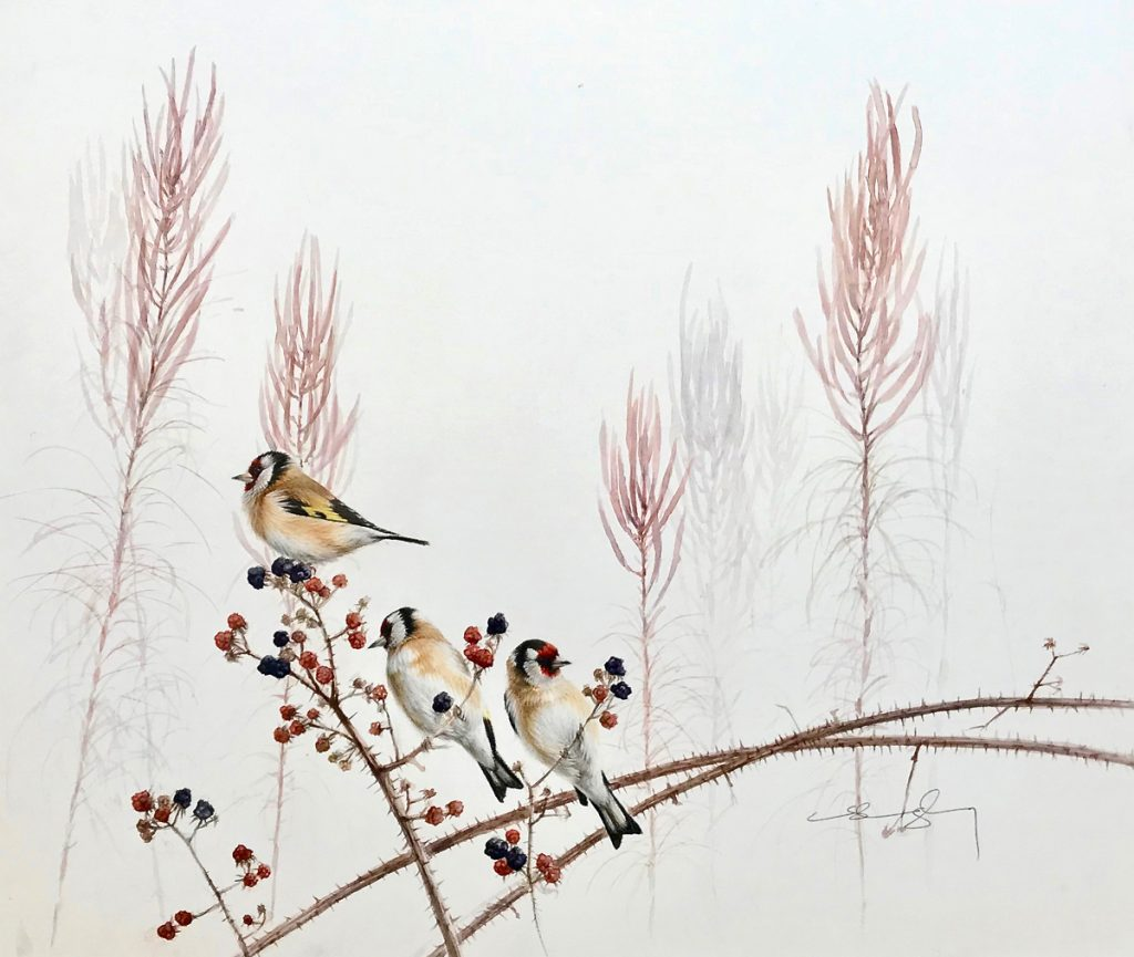Goldfinches on Blackberries (NEW)